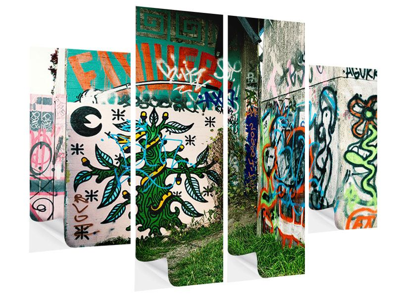 Klebeposter 4-teilig Graffiti im Hinterhof