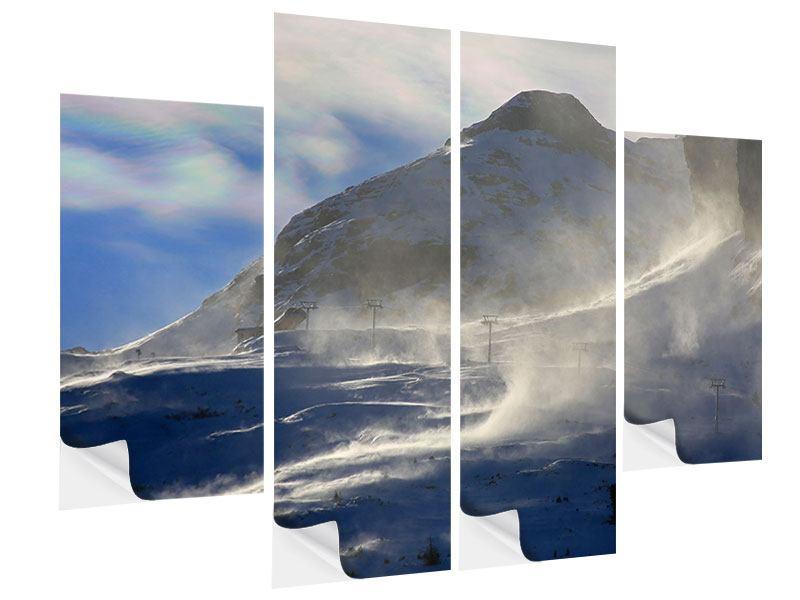 Klebeposter 4-teilig Mit Schneeverwehungen den Berg in Szene gesetzt
