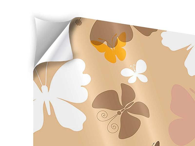 4 Piece Self-Adhesive Poster Retro Design Butterflies