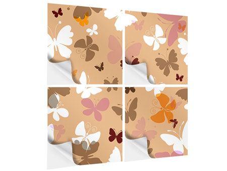 Klebeposter 4-teilig Retrodesign Schmetterlinge