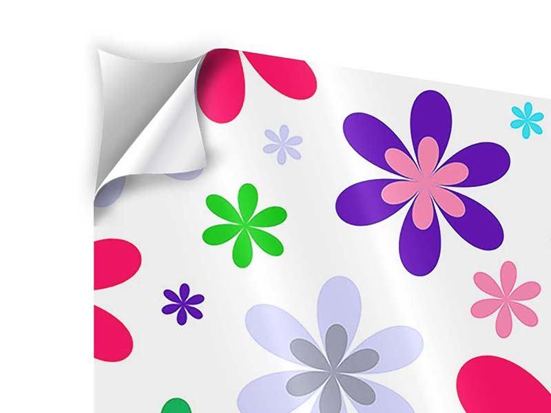 Klebeposter 4-teilig Retromode Blumen