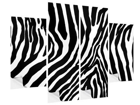 Klebeposter 4-teilig Zebramuster