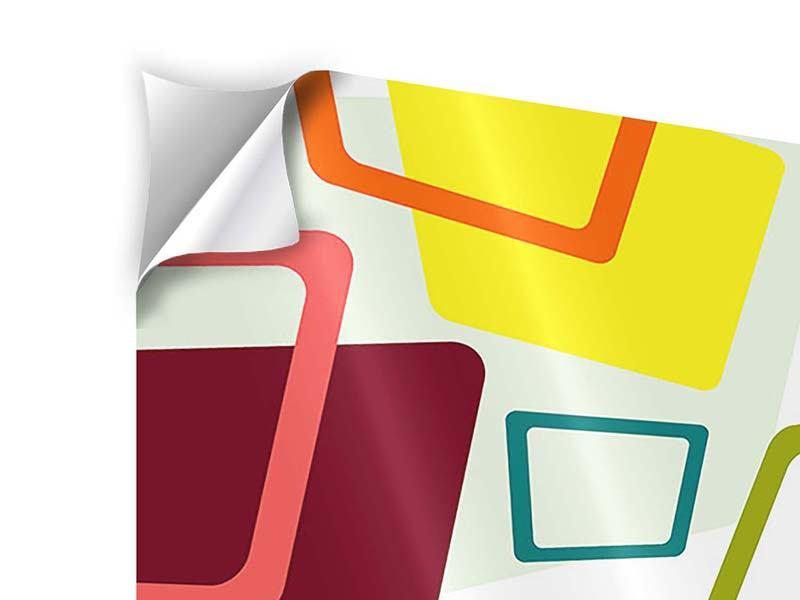 Klebeposter 4-teilig Rechtecke im Retrodesign