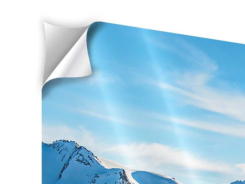 Klebeposter 4-teilig Sonnenaufgang in den Bergen