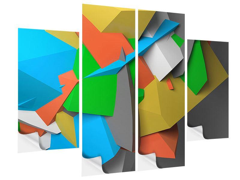 Klebeposter 4-teilig 3D-Geometrische Figuren