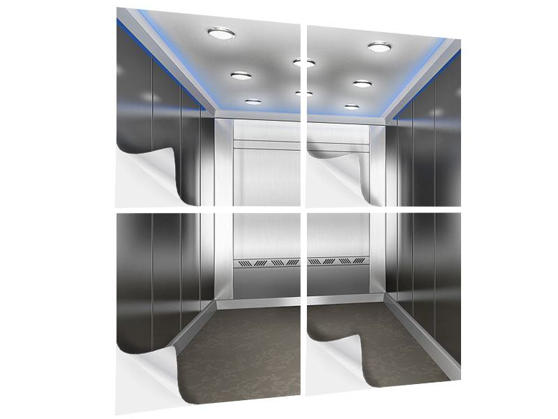 Klebeposter 4-teilig Eleganter Aufzug
