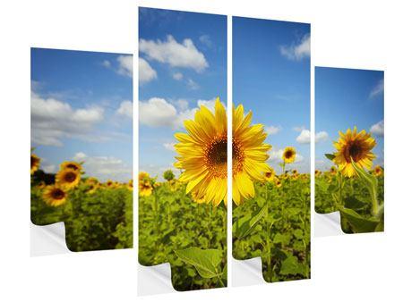 Klebeposter 4-teilig Sommer-Sonnenblumen