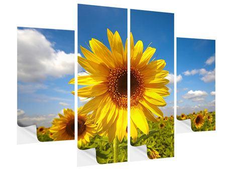 Klebeposter 4-teilig Das Feld der Sonnenblumen