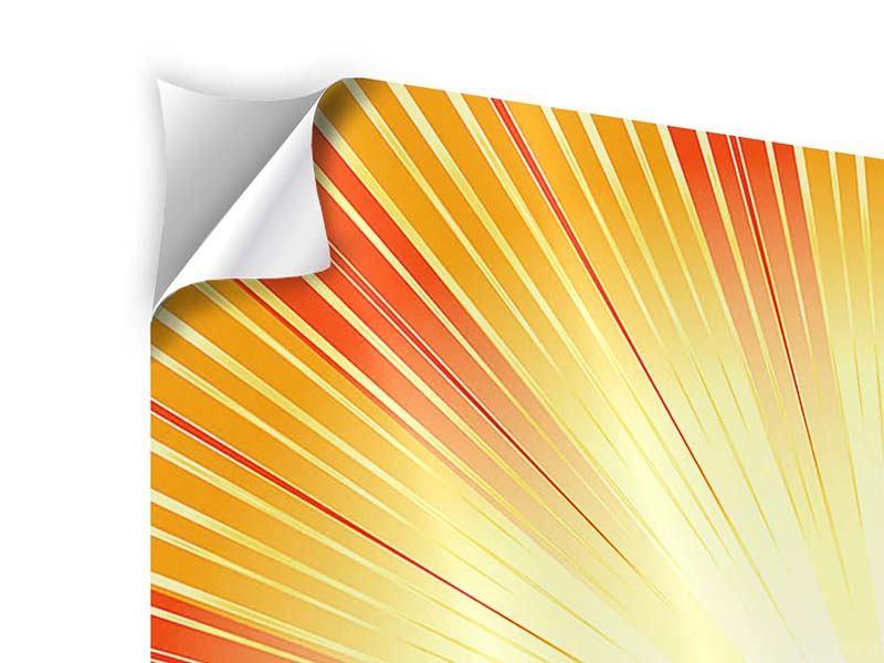 Klebeposter 4-teilig Abstrakte Retro Sonne