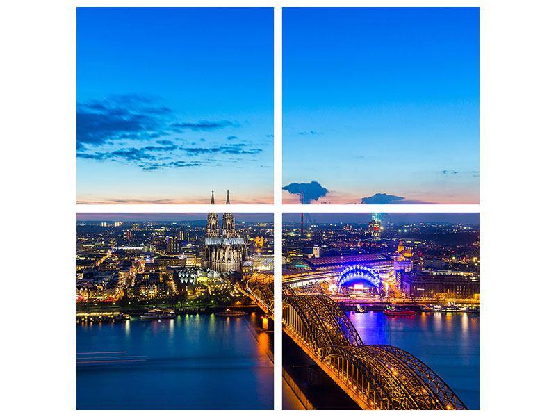 Klebeposter 4-teilig Skyline Ein Penthouse in Köln
