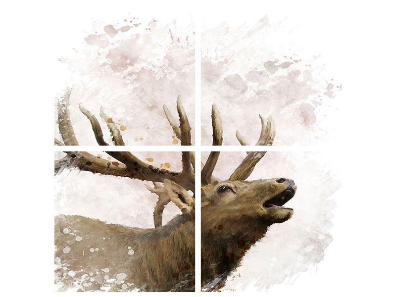 Klebeposter 4-teilig Elch-Gemälde