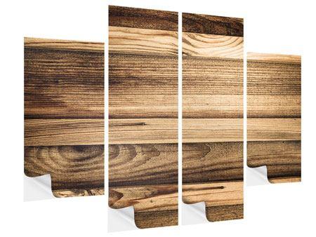 Klebeposter 4-teilig Holztrend