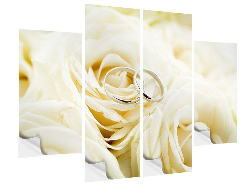 Klebeposter 4-teilig Trauringe auf Rosen gebettet