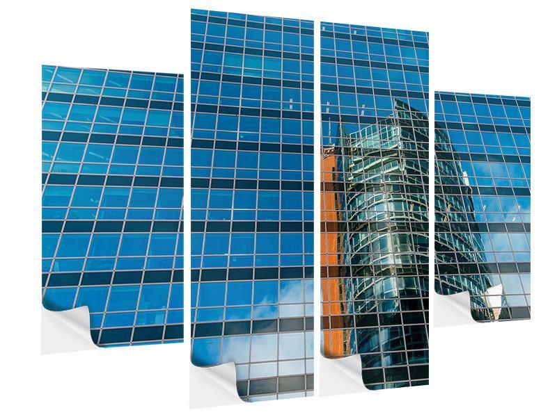 Klebeposter 4-teilig Wolkenkratzer-Spiegel