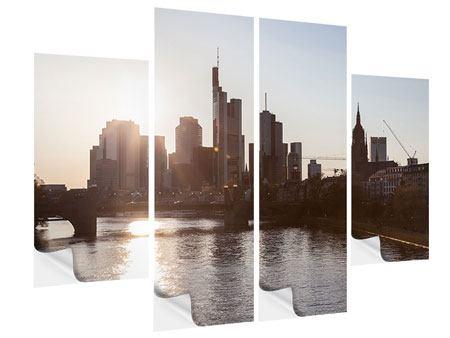 Klebeposter 4-teilig Skyline Sonnenaufgang bei Frankfurt am Main