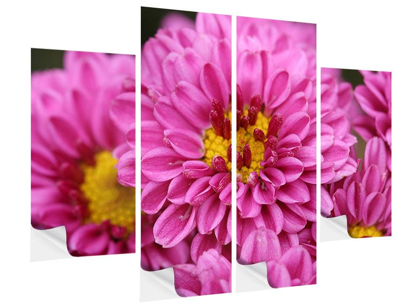 Klebeposter 4-teilig Chrysanthemen