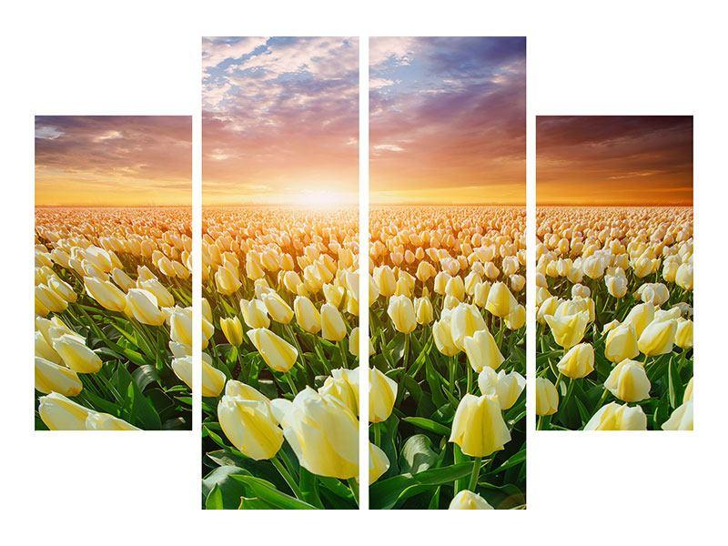 Klebeposter 4-teilig Sonnenaufgang bei den Tulpen