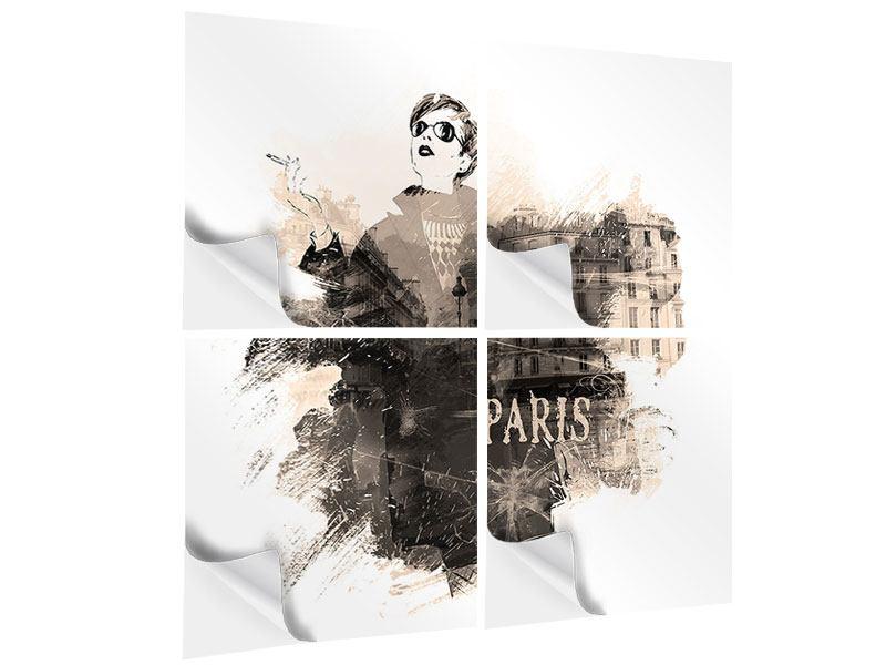 Klebeposter 4-teilig Pariser Modell