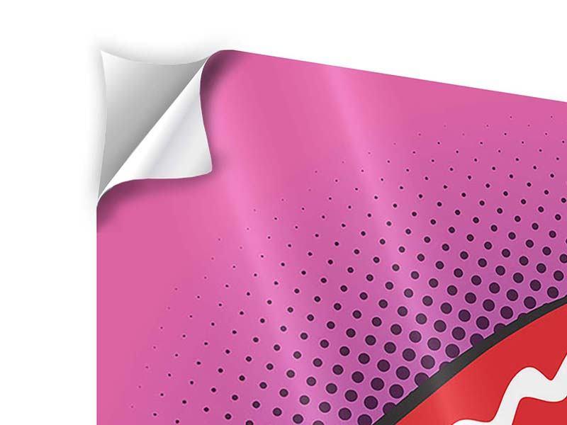 Klebeposter 4-teilig Pop Art Mund