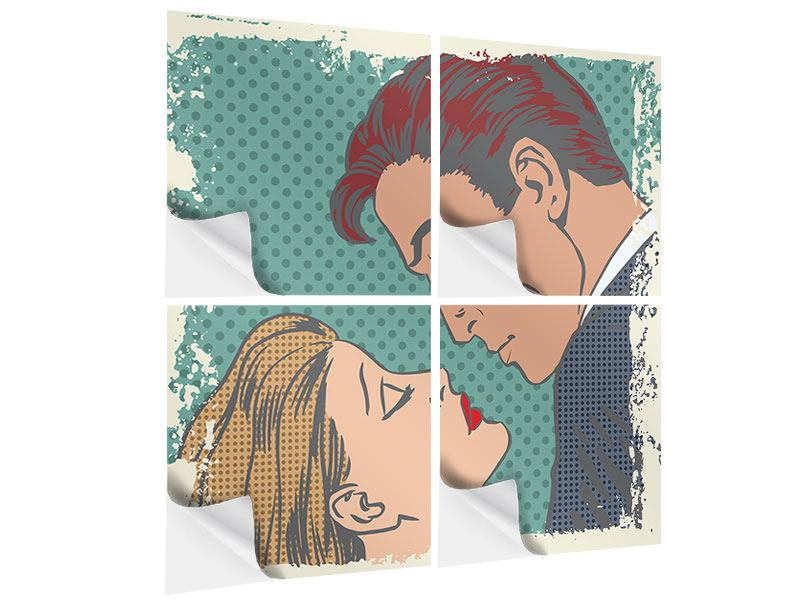 Klebeposter 4-teilig Pop Art Liebe