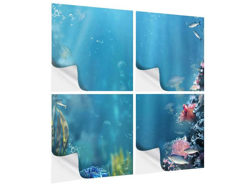 Klebeposter 4-teilig Unter Wasser