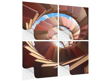 Klebeposter 4-teilig Abstrakte Bücher-Wendeltreppe