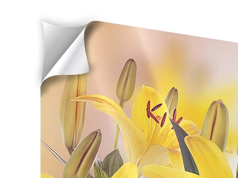 Klebeposter 4-teilig Gelbes Lilientrio