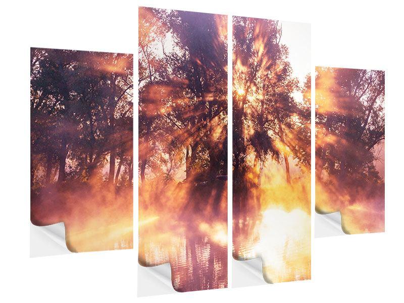 Klebeposter 4-teilig Die Waldspiegelung