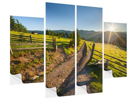 Klebeposter 4-teilig Sonnenaufgang am Berg