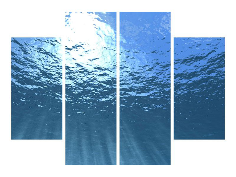 Klebeposter 4-teilig Sonnenstrahlen unter Wasser
