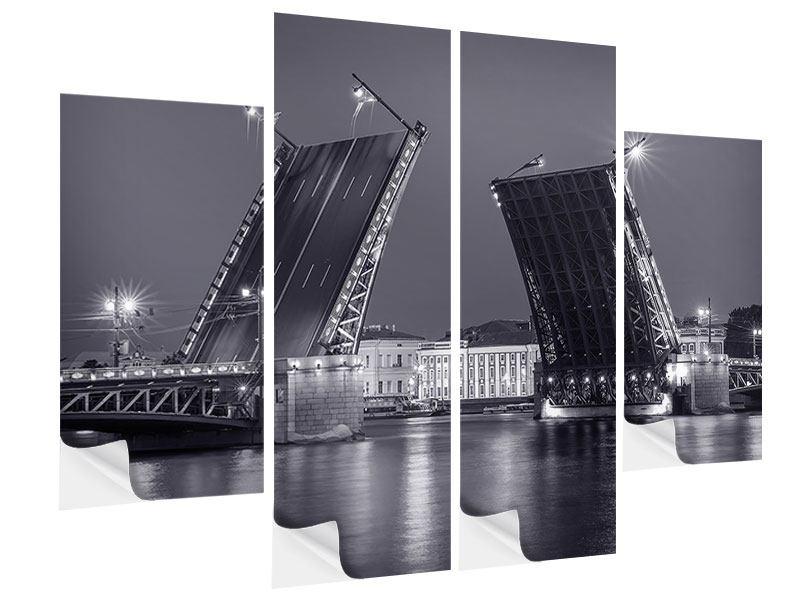 Klebeposter 4-teilig Klappbrücke bei Nacht
