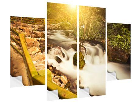 Klebeposter 4-teilig Sonnenuntergang am Wasserfall