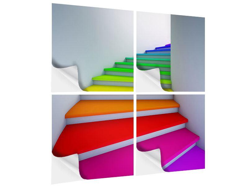 Klebeposter 4-teilig Bunte Treppe