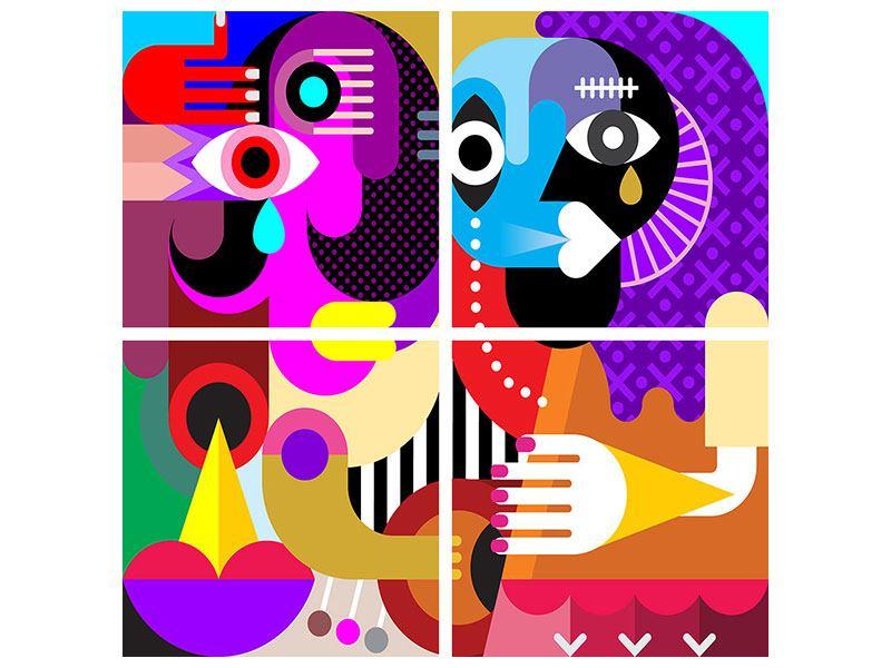 Klebeposter 4-teilig Moderne Kunst People