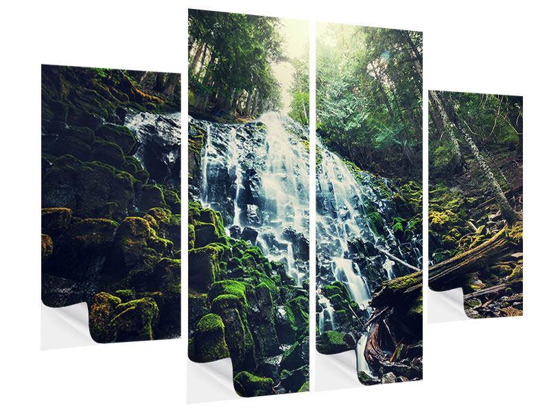 klebeposter 4 teilig feng shui wasserfall. Black Bedroom Furniture Sets. Home Design Ideas