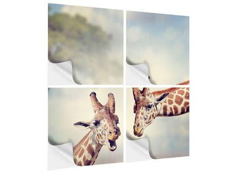 Klebeposter 4-teilig Giraffen