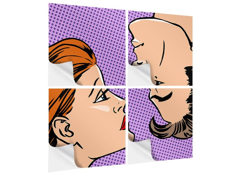 Klebeposter 4-teilig Pop Art Love