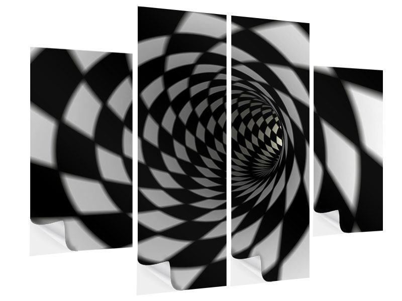 Klebeposter 4-teilig Abstrakter Tunnel Black & White