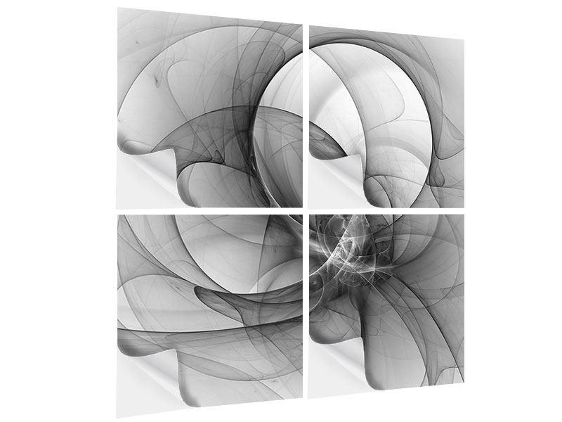 Klebeposter 4-teilig Abstrakte Kreisende Kreise