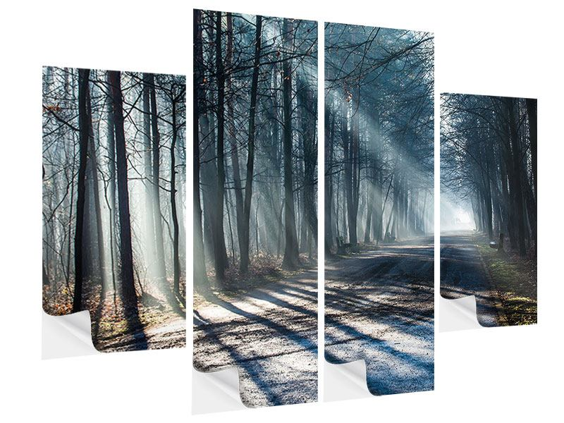 Klebeposter 4-teilig Wald im Lichtstrahl