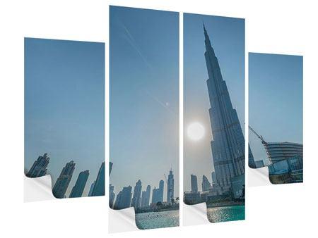 Klebeposter 4-teilig Wolkenkratzer-Architektur Dubai