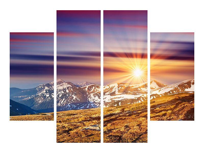 Klebeposter 4-teilig Majestätischer Sonnuntergang am Berggipfel