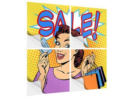 Klebeposter 4-teilig Pop Art Sale