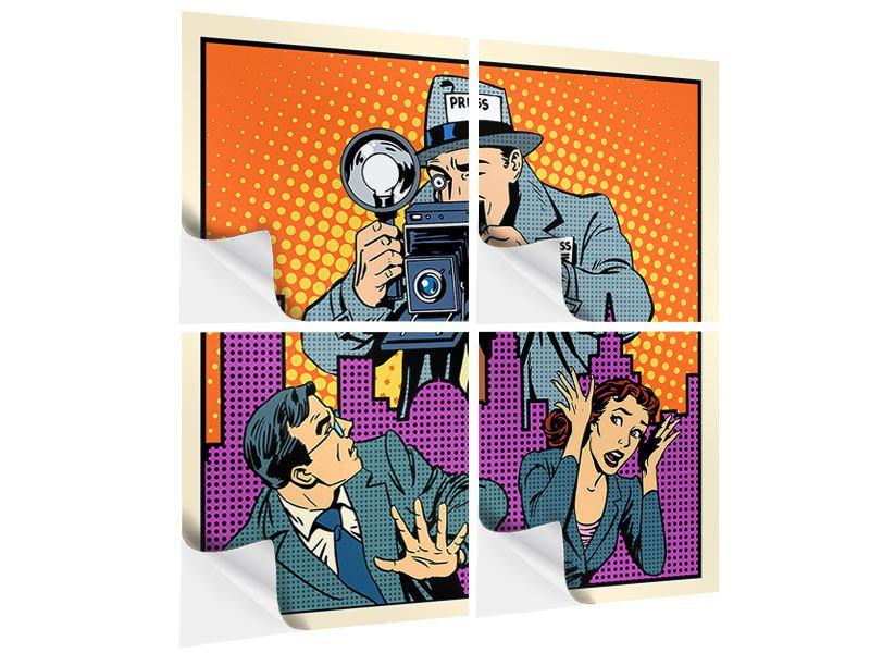Klebeposter 4-teilig Pop Art Paparazzi