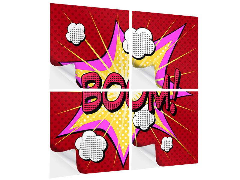 Klebeposter 4-teilig Pop Art Boom