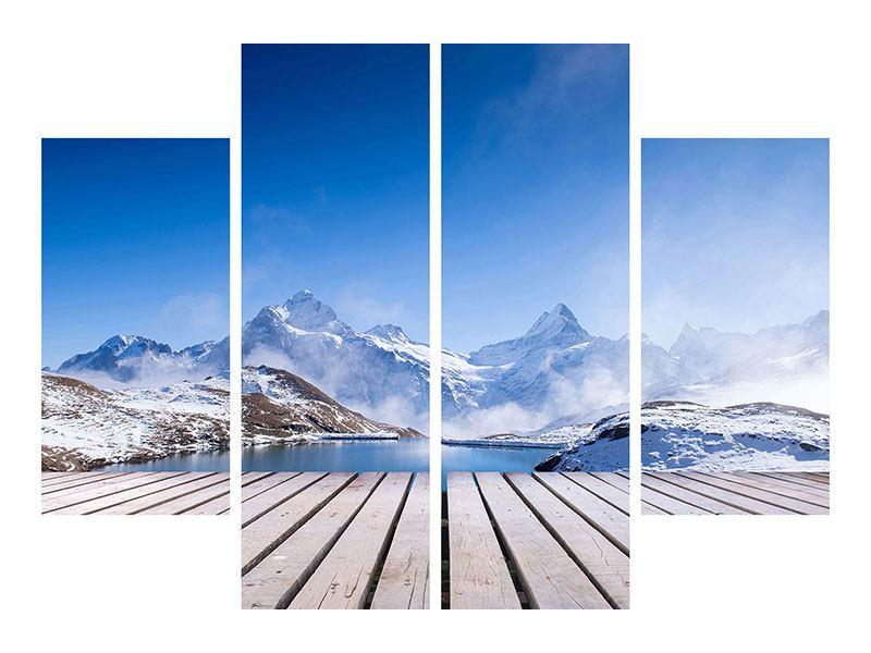 Klebeposter 4-teilig Sonnenterrasse am Schweizer Bergsee
