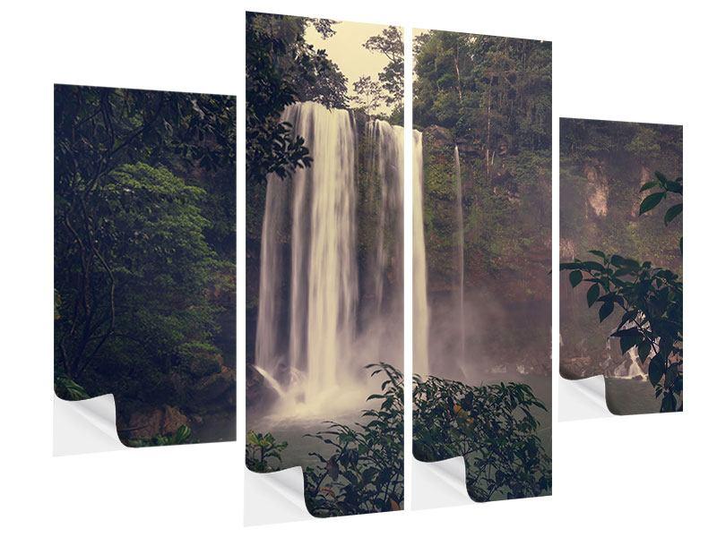 Klebeposter 4-teilig Wasserfall in Mexiko