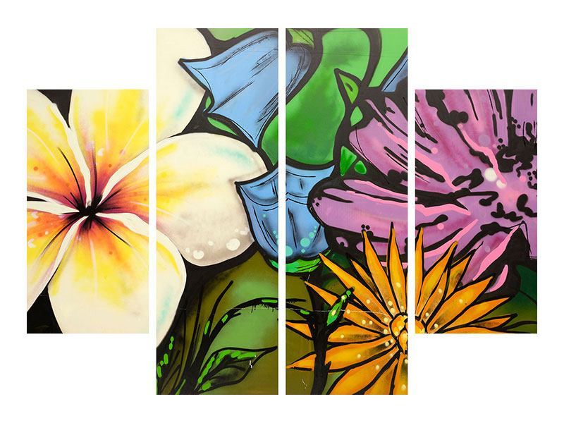Klebeposter 4-teilig Graffiti Flowers