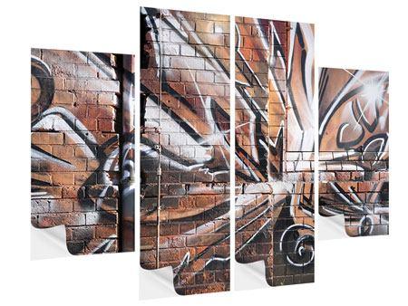 Klebeposter 4-teilig Graffiti Mauer