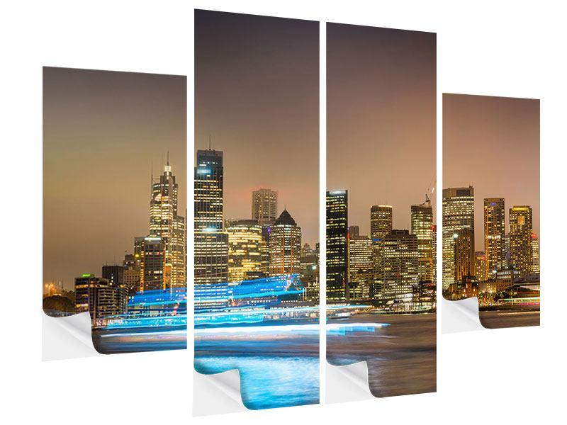 Klebeposter 4-teilig Skyline Sydney im Lichtermeer